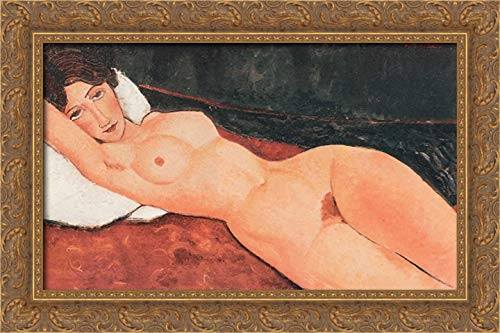 Reclining Nude X 24x17 Gold Ornate Wood Framed Canvas Art by Modigliani, Amedeo Amedeo Modigliani Framed Canvas