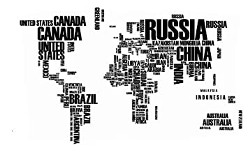 Jessieu0026letty World Map Wall Sticker Country Name Wall Sticker Decal In  Words Large Text World
