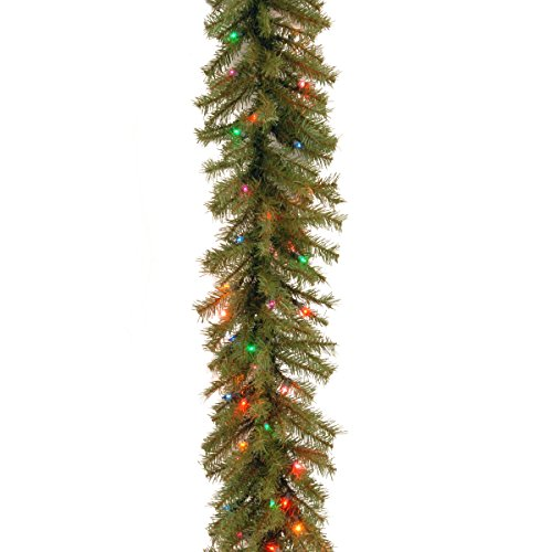 National Tree 9 Foot by 10 Inch Norwood Fir Garland with 50 Battery Operated Multicolor LED Lights (NF3-309-9A-B) Multi Color Garland