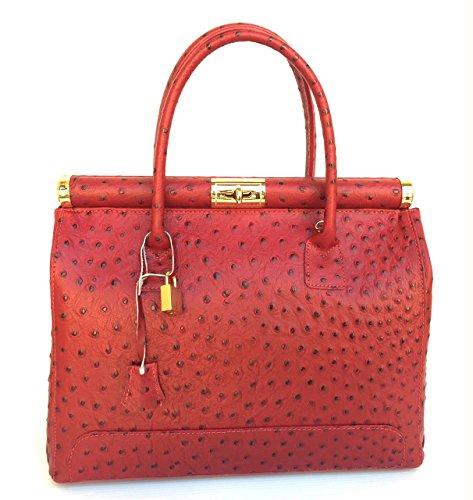 Borsa In Con Manico Rosso Donna Tondo A Vera Bauletto Mano Alina Made Pelle Superflybags Modello Italy Struzzo BwqSHUq