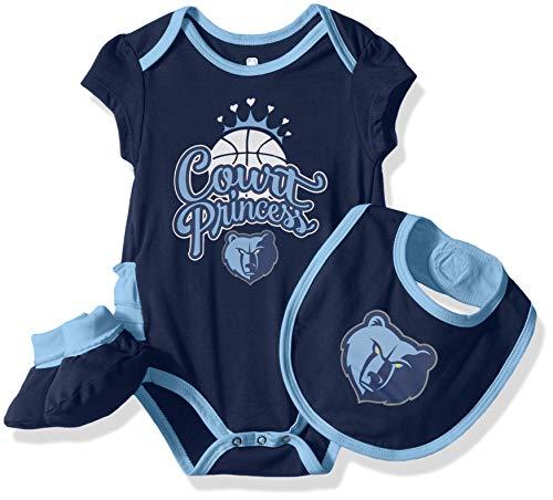 Outerstuff NBA NBA Newborn & Infant Memphis Grizzlies Mini Trifecta Bodysuit, Bib & Bootie Set, Dark Navy, 18 ()