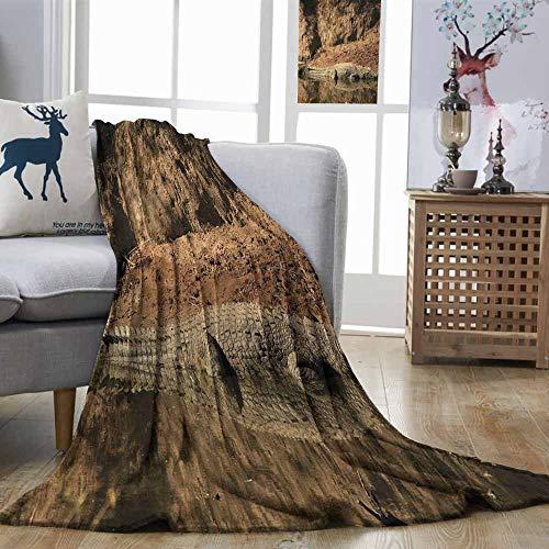 - Zmstroy Digital Printing Blanket Africa Nile Crocodile Swimming in The River Rock Cliffs Tanzania Hunter Geography Print Brown Tan Print Artwork W70 xL93