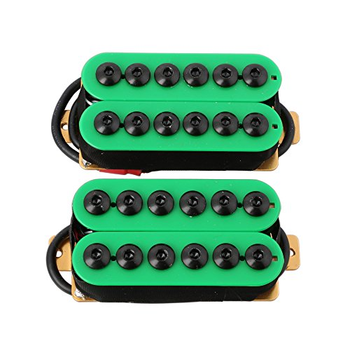 LYWS 2PCS Ceramic Magnet Invader Style Guitar Humbucker Pickup Bridge & Neck (Green+Green)