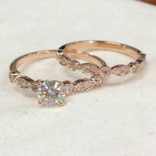 (Round Moissanite Engagement Ring Sets Pave Diamond Wedding 14K Rose Gold 5mm Art Deco Antique)
