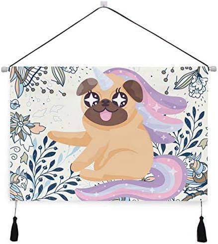 犬パグ子犬ぶら下げ絵画 壁アート 吊りキャンバス 印刷 絵画 アートワーク 写真 ホーム用