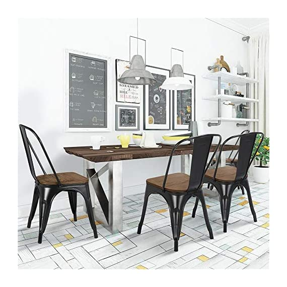 Yaheetech 18 Inch Classic Iron Metal Dinning Chair with Wood Top/Seat Indoor-Outdoor Use Chic Dining Bistro Cafe Side Barstool Bar Chair Coffee Chair Set of 4 Black - 🐬Solid & durable: The seat of the side chair is made of wood and the other parts are made of iron. Offer you a comfortable seat and solid support. It is solid enough for your daily needs. The load-bearing capacity is 150kg/330lb. 🐬Stackable design with scratch-proof pads: You can stack these armless chairs on top of the other to save space for unused time. Rubber feet under the chair legs keep floors from sliding and scratching. Also, the rubber pads can reduce noise when you move the chairs. 🐬X-shape brace: The wooden surface is tightly screwed to the chair and the seat of the dinning chair is enforced by an X-shape brace below to provide more stability and load bearing. - kitchen-dining-room-furniture, kitchen-dining-room, kitchen-dining-room-chairs - 51HCcf%2BHiAL. SS570  -