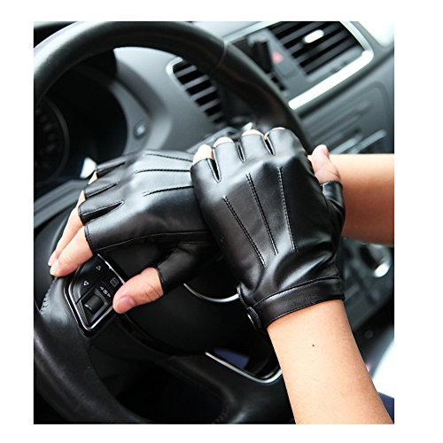 (Men's Fingerless Half Fingers Faux Leather Glove Touchscreen Texting Driving Motor (Black, L))