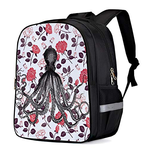 Small School Backpack for Kids/Kindergarten Octopus Roses 3D Printed Stylish Laptop Book Bag Lightweight Lunch Bag Daypack for Boys and Girls Arts Language