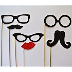 Chirstmas Photo Booth Party Props Mustache on a Stick 6 Pc Xmas Glasses Lips and Mustaches