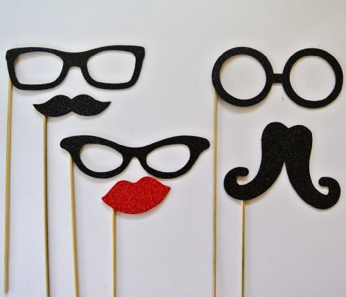 Chirstmas Photo Booth Party Props Mustache on a Stick 6 Pc Xmas Glasses Lips and - Glasses A Stick On