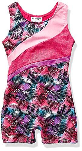Jacques Moret Girls' Big Fun Gymnastics Biketard, Mindful Ombre Print/Pizzaz Pink/Studio Pink-91000, X-Small