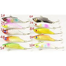 "Pack of 10 Sinking Rattling Wiggler VIB Lipless Crankbaits Hard Fishing Lures Vibe Vibration Rattle Hooks for Sea Bass & Trout 5.5cm/2.16""/10g"