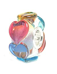Sterling Silver Infinity Love Goes Round Rainbow Heart Glass Bead For European Chamilia Biagi Troll Pandora Charm Bracelets