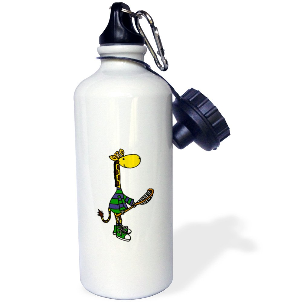 3dRose All Smiles Art Sports and Hobbies - Funny Giraffe Holding Lacrosse Stick - 21 oz Sports Water Bottle (wb_243509_1) by 3dRose (Image #1)