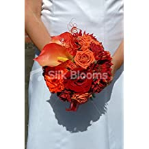 Lovely Red & Orange Gerbera Rose & Lily Autumn Wedding Bouquet