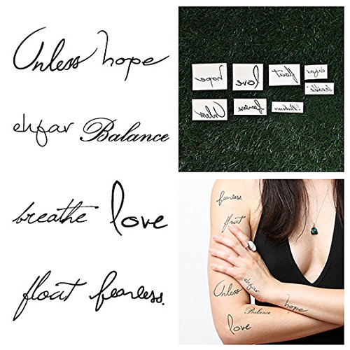 Tattify Typographic Temporary Tattoos - Idea Waves (Complete Set of 18) - Individual Styles Available - Premium Quality and Fashionable Temporary Tattoos - Long Lasting and Waterproof