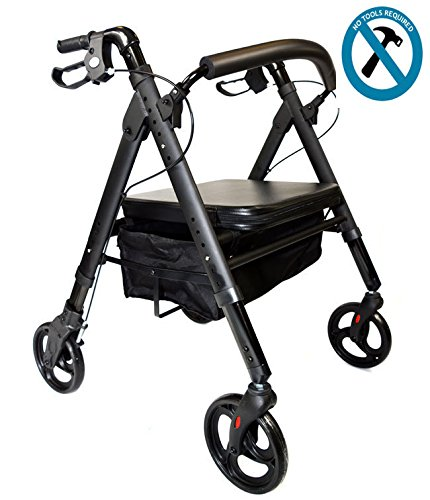 Deluxe Bariatric Rollator Walker; Heavy Duty with Large Padded Seat up to 500 Lb Capacity, Lightweight Just 20lbs Mobb MHHRL
