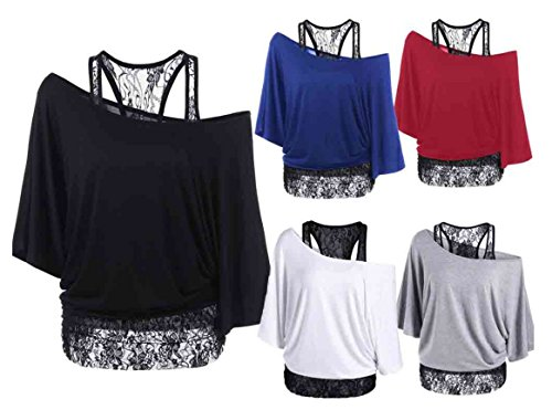 Clearance!Youngh Women Plus Size Lace Loose Casual Long Sleeve Tops Blouse Shirt