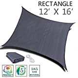 SUNNY GUARD 12' x 16' Charcoal Rectangle Sun Shade Sail UV Block for Outdoor Patio Garden