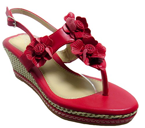 flats Justine Womens sandals 22 Forever Red BvTOqx