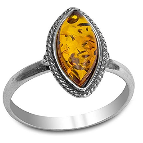 Amber Sterling Silver Marquise Ring