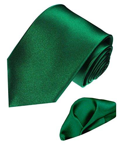 LORENZO CANA Italian 100% Silk Woven Tie Hanky Set Green Solid Necktie ()