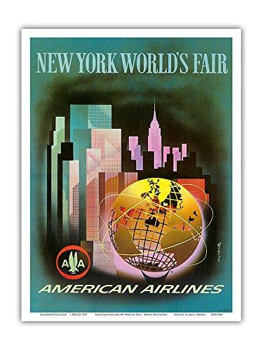 Vintage American Airlines (New York Worlds Fair 1964-1965 - American Airlines - Vintage Airline Travel Poster by Henry K. Bencrathy c.1960s - Master Art Print - 9in x)