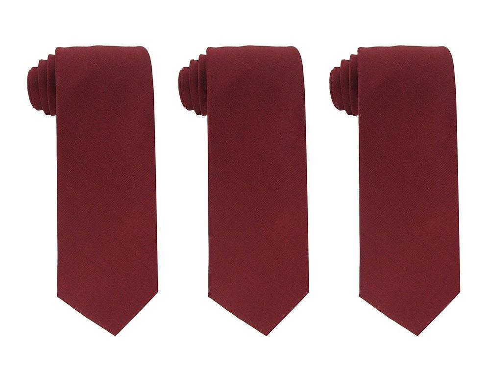 Kebs Basic Mens Solid Color Cotton Necktie Regular Tie for Men 3 PCS - Burgundy