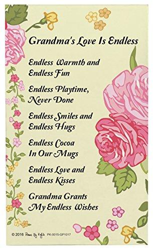 Grandma Gifts for Christmas Grandma's Love is Endless Grandma Poem Decorative Poetry Award Gift Plaque Glass Plaque
