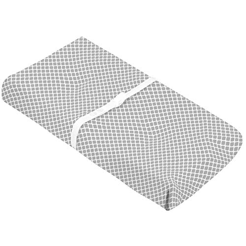 Kushies Changing Pad Cover with Safety Straps, Soft 100% Breathable Cotton Flannel, Made in Canada, Grey Lattice