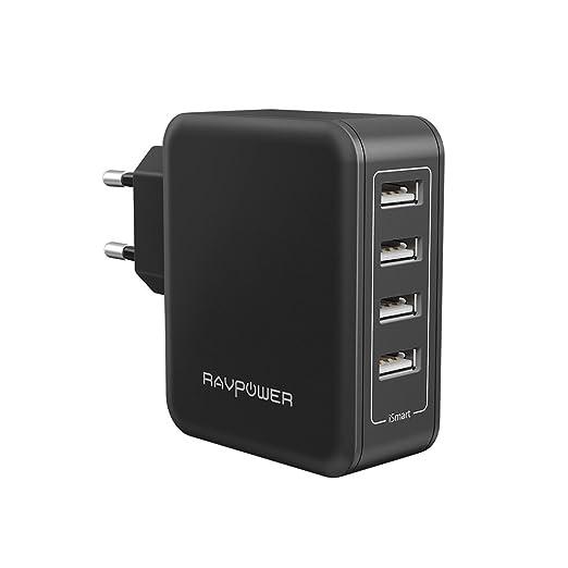 155 opinioni per Alimentatore USB RAVPower Caricatore da Muro Portatile da 40W a 4 Porte USB