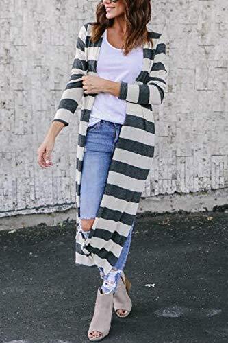Yulinge Aperta Strisce Grey Davanti Impermeabile Outerwear Donne Cardigan Asimmetrici Le ZqrRZ7w