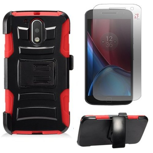 Motorola Moto G4 Plus XT1644 / Moto G4 XT1625 / Moto G 4th Gen. Protective Armor Case [SlickGears™] Heavy Duty Dual Layer Work Case + Belt Clip Carrying Holster + Screen protector Combo (Red) (Screen G Motorola)