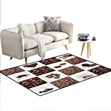 Carpet,Coffee with Roasted Beans Concept Collage Hearts Stars Espresso Latte Mugs Aroma,Print Area