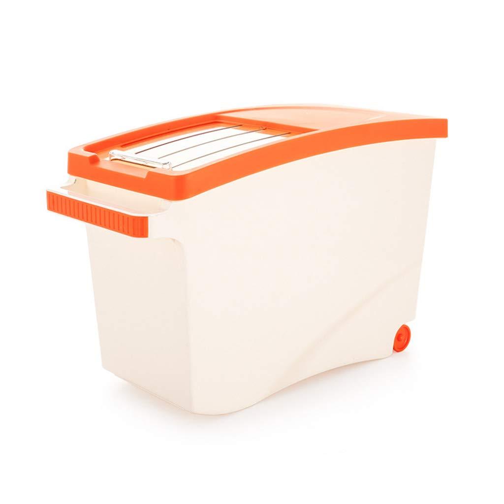 Caja De Almacenamiento De Alimentos Secos De Gran Tama/ño De Grano Fresco De Almacenamiento con Ruedas Apto para Harina De Arroz Y Alimentos para Mascotas 15 Kg