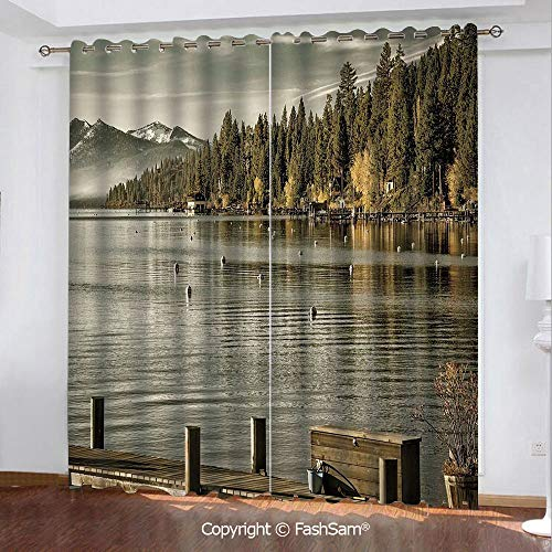 Thermal Insulated Blackout Curtains Trees at Lakeside Carnelian Bay Tahoe California USA Boardwalk Tranquil Scene Printed Curtain for Living Room(55