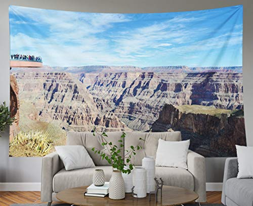Shorping Father Gift Tapestry, 60x50Inches Home Wall Hanging Tapestries Art for Décor Living Room Dorm View Grand Canyon Skywalk Sky Walk Bridge Arizona USA Mountains Over Blue Sky]()