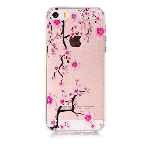 iPhone 5 5S SE Custodia , Leiai Moda Fiore Di Ciliegio Trasparente Clear Silicone Morbido TPU Cover Case Custodia per Apple iPhone 5 5S SE