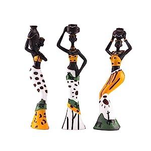 3Pcs African Figure Sculpture Tribal Lady Figurine Statue Decor Collectible Art Piece, 7.5-Inch