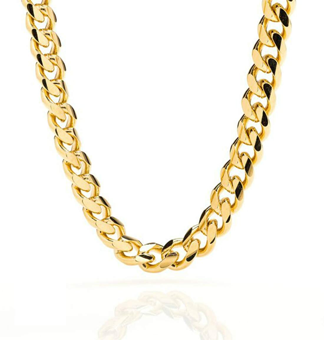 4caa8c3d01d7d Miami Cuban Link 24K Real Gold Plated Chain Necklace 9MM for Men, Hip hop,  Women, Tarnish-Resistant, Lobster Clasp, USA Made