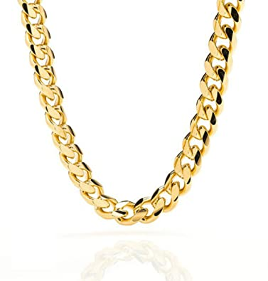 15541774ca71b Miami Cuban Link 24K Real Gold Plated Chain Necklace 9MM for Men, Hip hop,
