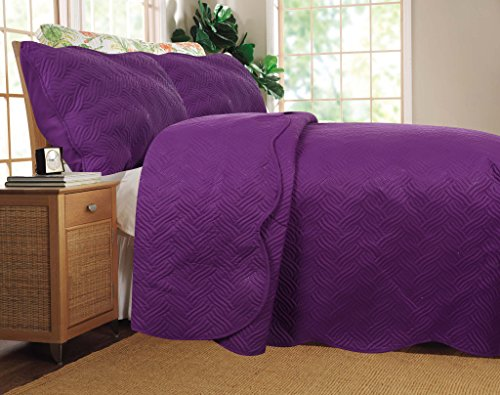 DaDa Bedding 3 Piece Reversible Solid Midnight Vineyard Thin and Lightweight Bedspread Quilt Set, Queen/95 x 95'', Purple by DaDa Bedding