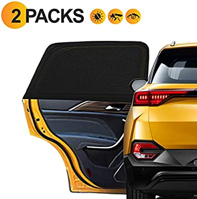 Transer Universal Fit Car UV Mesh Side Window Baby Sun Shade with Suction Cups Black | Protects Your Baby and Older Kids from the Sun 2 Pack Fits most car models