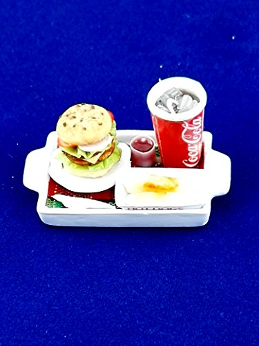 Chic Product Miniature Dollhouse Collectable with Hamburger, Sausage and Soft drink Lunch Set Perfect for Home ()