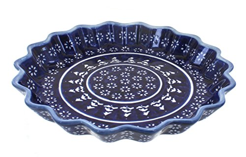 Blue Rose Polish Pottery Winter Nights Quiche Dish