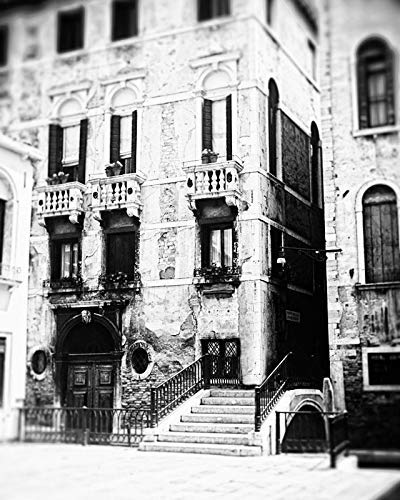 Architectural Black Photos White (Venice Italy Black and White photography Rustic Architecture photo 8x10 inch print)