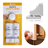 Magnetic Baby Safety Cabinet Locks - no Tools or Screws Needed, 4 Locks and 1 Key