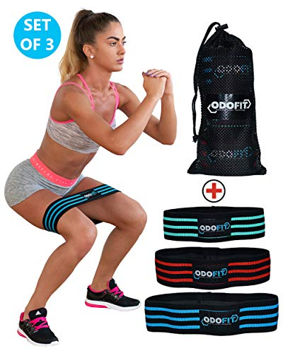 ODOFIT New Booty Resistance Bands Hip Loop Bands for Legs and Butt Workout – Fabric Anti-Slipping Glute Exercise Band for Heat-up and Squat –Set of three-Activate Quads & Thighs, Thick, Wide Material, Women – DiZiSports Store