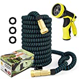 50ft Garden Hose Expandable Water Hose, 3/4' Solid Brass Fittings & 9 Function Spray Nozzle & Extra Strength Fabric 3-Layers Latex Core, Lightweight Flexible Pocket Hoses for Lawn Plants Car Washing