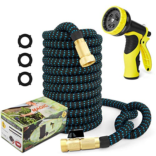 50ft Garden Hose Expandable Water Hose, 3/4″ Solid Brass Fittings & 9 Function Spray Nozzle & Extra Strength Fabric 3-Layers Latex Core, Lightweight Flexible Pocket Hoses for Lawn Plants Car Washing